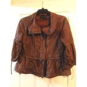 ZARA Crinkle Leather Anorak Jacket